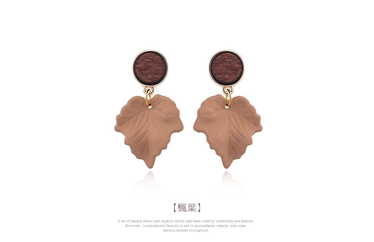 復古典雅楓葉 耳針/黏式耳環,楓葉