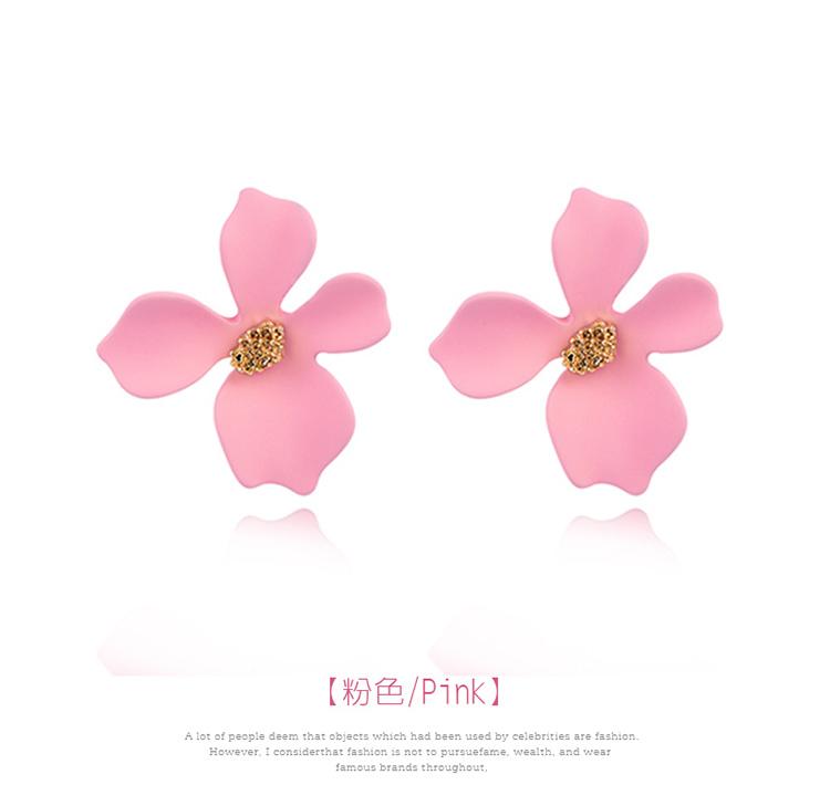 粉嫩少女心優雅花瓣 黏式耳環,花朵