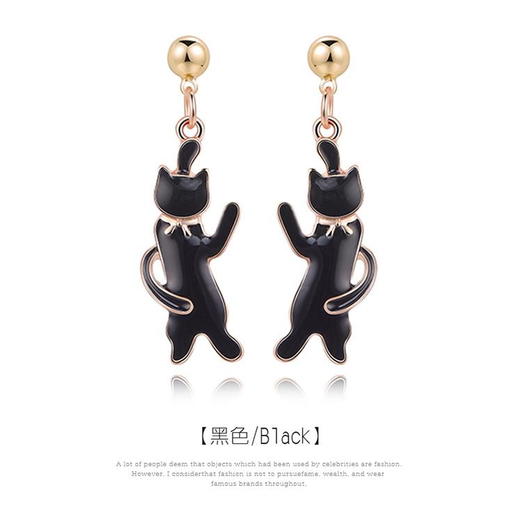可愛緞帶黑色小貓 黏式耳環,貓咪