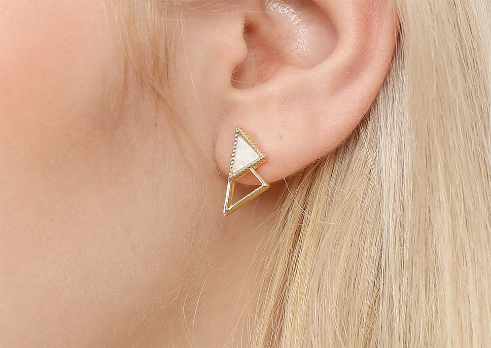 模特兒展示: 質感合金與壓克力打造出幾何三角造型,簡約有形,創新無耳洞黏貼式耳環設計,採用醫療級用膠,減少皮膚的負擔,也免除長時間配戴耳夾/夾式耳環的不舒適感。