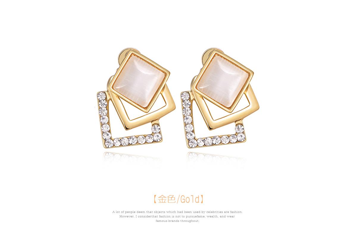 優雅菱形貓眼石鑲鑽耳環,金色