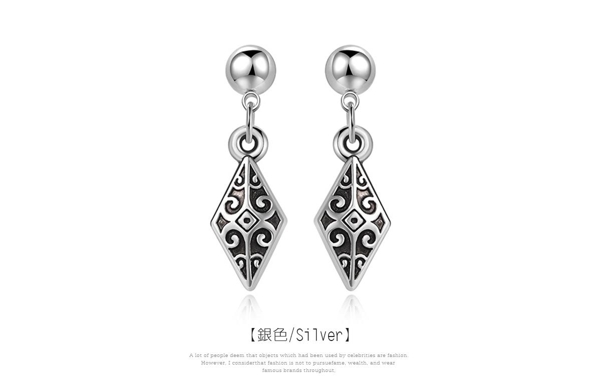 韓版復古雕紋菱形 耳針/黏式耳環,銀色
