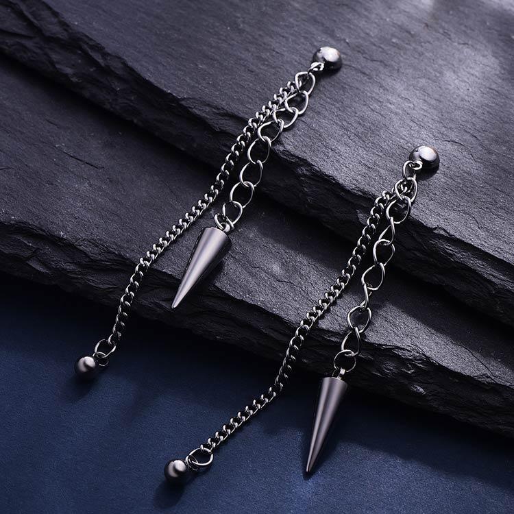 韓版個性錐形圓珠 耳針/黏式耳環,桌上展示。