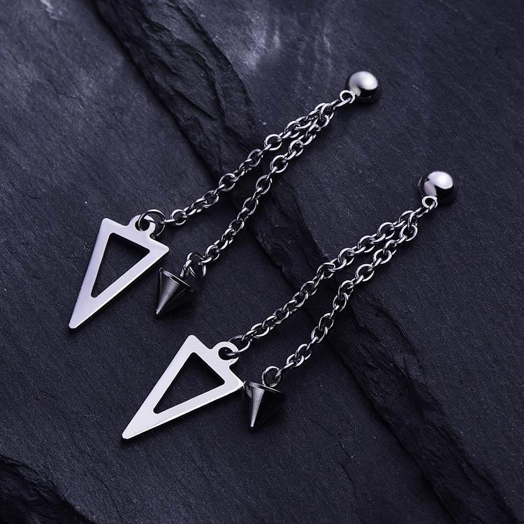 韓版三角形尖錐流蘇 耳針/黏式耳環,桌上展示。