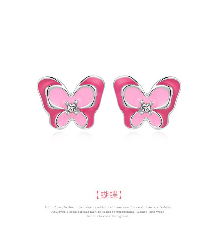 桃粉鑲鑽雙層蝴蝶 黏式耳環,蝴蝶