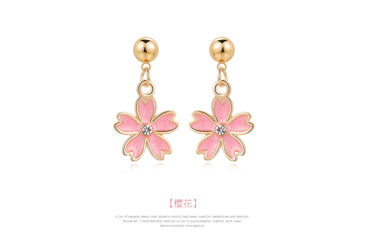 清新簡約鑲鑽櫻花 黏式耳環,櫻花