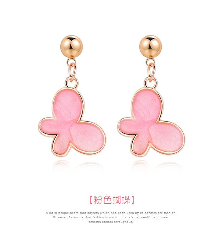 清新氣質粉嫩蝴蝶 黏式耳環,蝴蝶