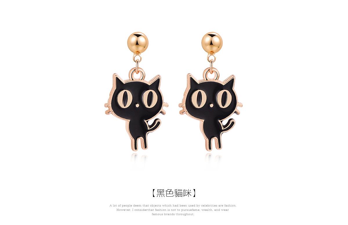 呆萌卡通大眼貓 黏式耳環,黑色貓咪