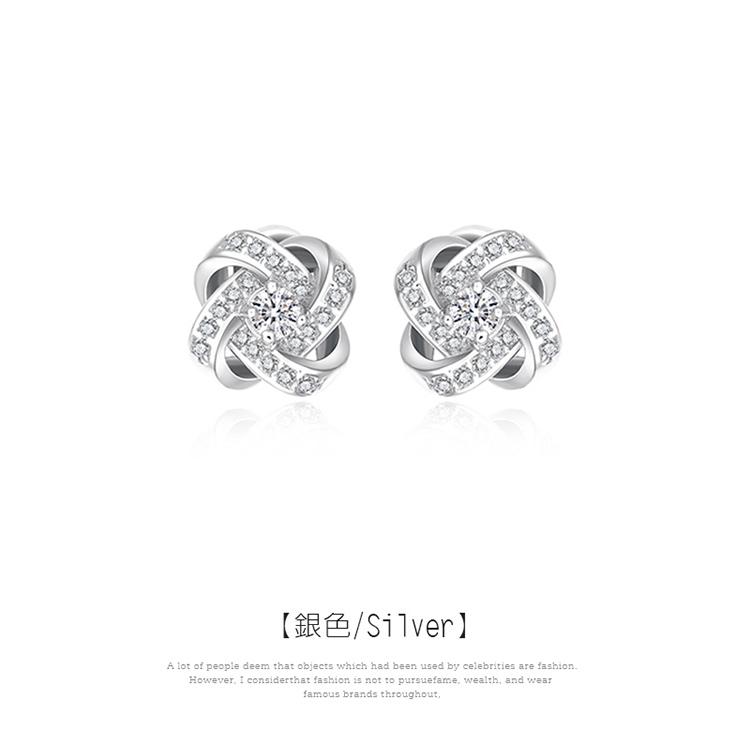 韓版簡約交錯水鑽 黏式耳環,交錯