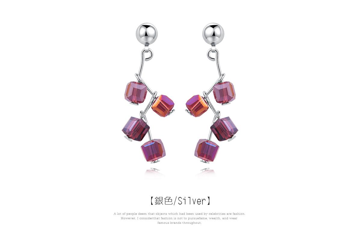樹狀立體方形水晶 耳針/黏式耳環,樹狀