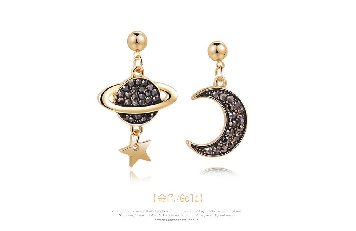 耀眼月亮宇宙星星 黏式耳環,月亮星球
