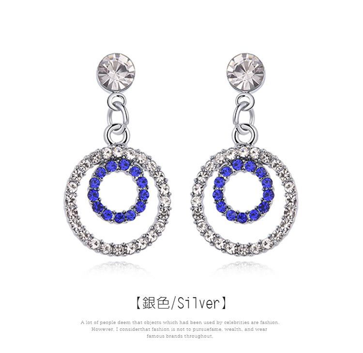簍空雙圓鑲鑽 耳針/黏式耳環,圓環