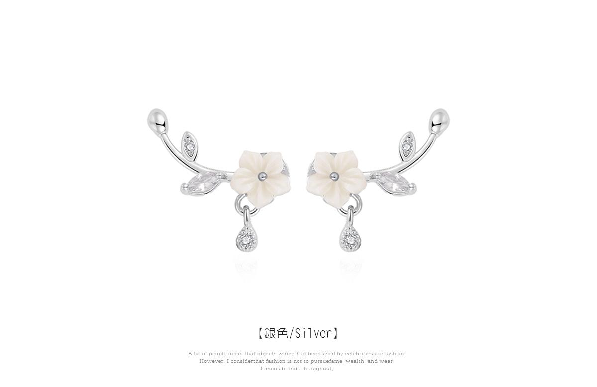 優雅擺動雕刻梅花 黏式耳環,花卉