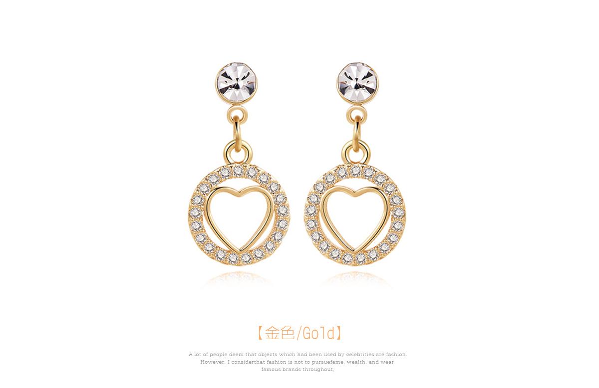 亮眼圓環鑲鑽金心 黏式耳環,愛心