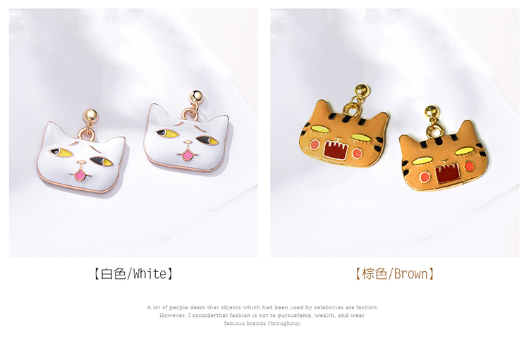 日系可愛卡通表情貓咪 黏式耳環,貓咪