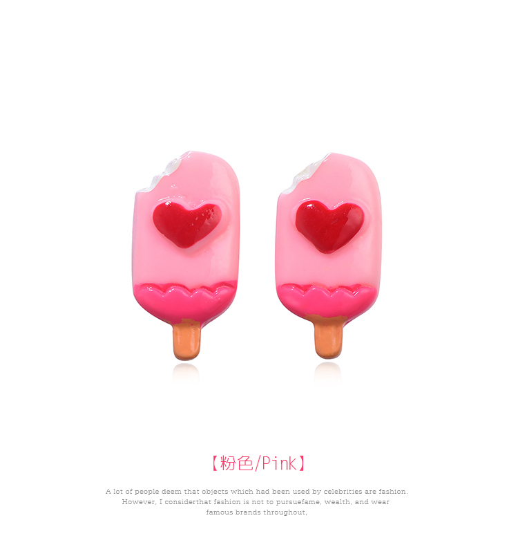 粉嫩愛心草莓雪糕 黏式耳環,雪糕