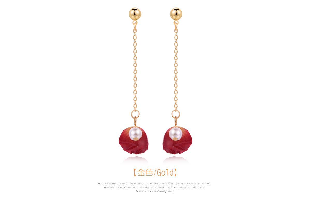 珍珠乾燥玫瑰花瓣 耳針/黏式耳環,玫瑰花瓣
