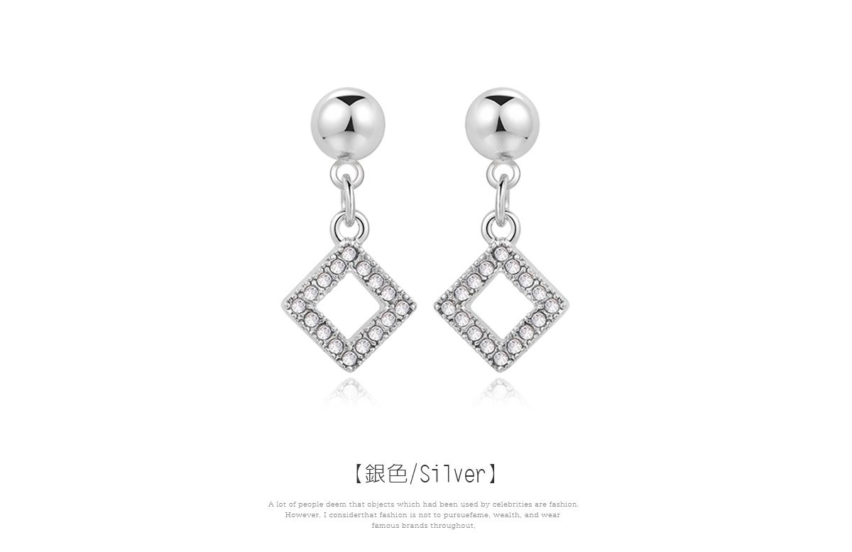 優雅簡約簍空鑲鑽菱形 黏式耳環,菱形