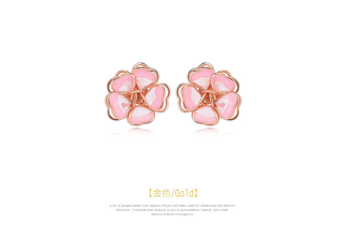 甜美立體雙層櫻花 黏式耳環,櫻花