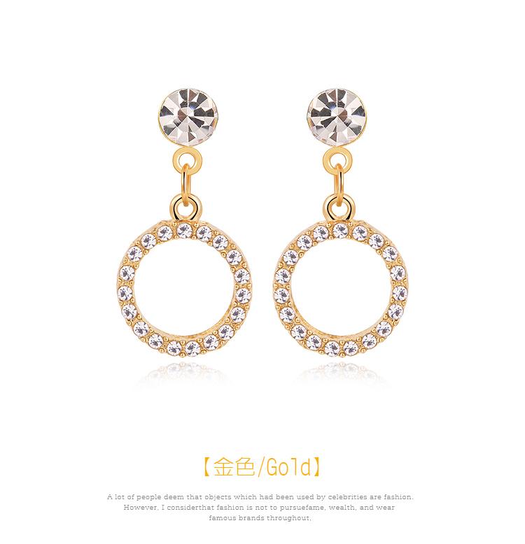 復古氣質鑲鑽圓環 耳針/黏式耳環,圓環