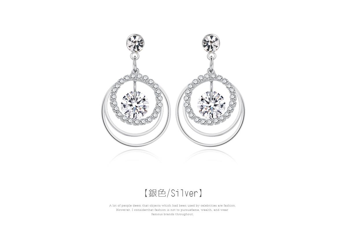 氣質多層圓環鑲鑽 耳針/黏式耳環,圓環