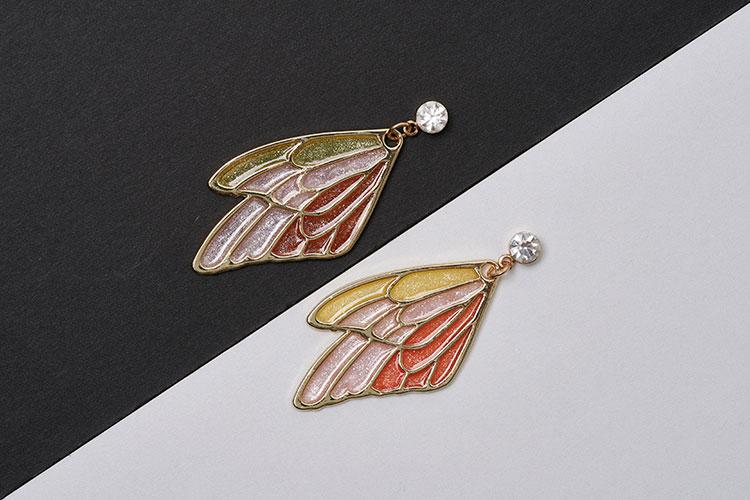森系半透滴膠蝴蝶 無耳洞黏貼式耳環