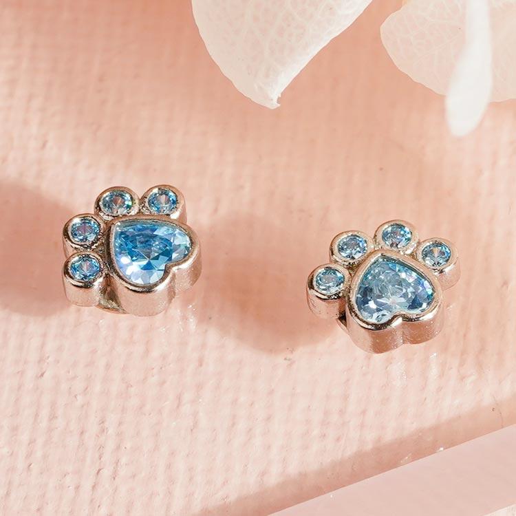 場景展示: 可愛藍鑽小貓掌 無耳洞黏貼式耳環