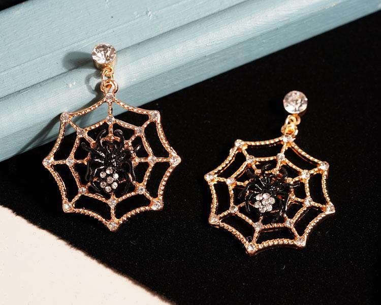 場景展示: 【16款】萬聖節限定-搞怪蜘蛛幽靈骷髏 針式/無耳洞黏貼式耳環