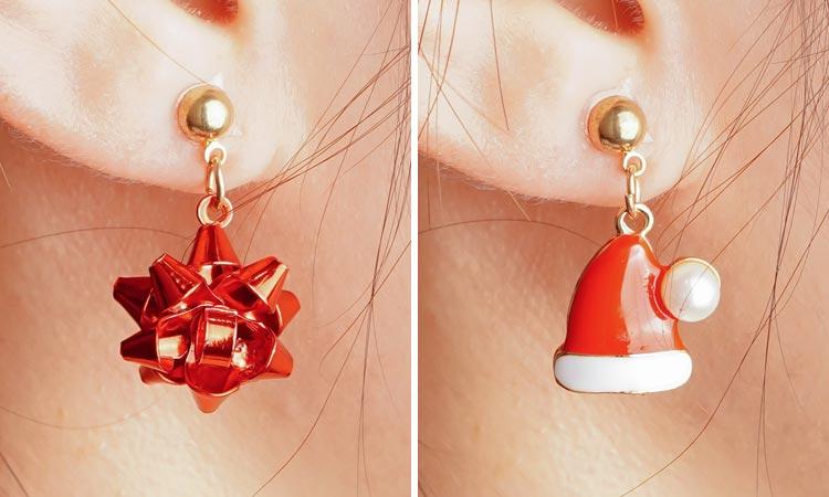 模特兒配戴展示: 【3款】聖誕節限定-麋鹿彩球聖誕帽 耳針/無耳洞黏貼式耳環