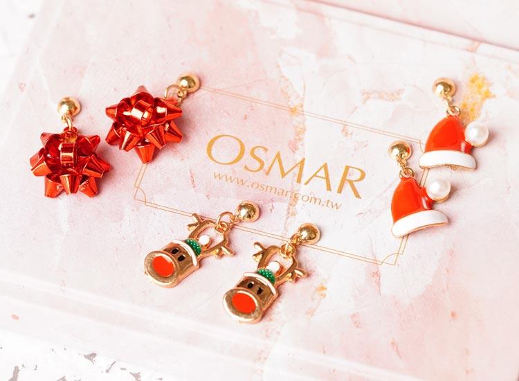 場景展示: 【3款】聖誕節限定-麋鹿彩球聖誕帽 耳針/無耳洞黏貼式耳環