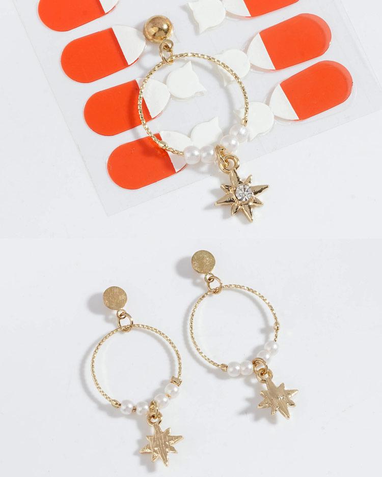 時尚簍空圓環珍珠芒星 耳針/無耳洞黏貼式耳環  細節展示