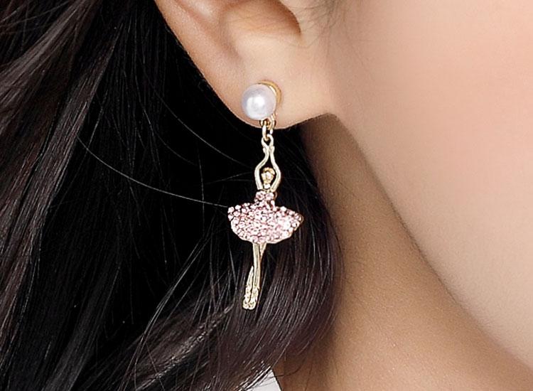 浪漫滿鑽芭蕾舞伶 耳針/無耳洞黏貼式耳環