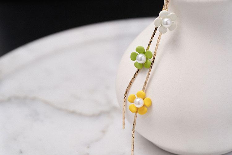 清新三⾊⼩花流蘇 無耳洞黏貼式耳環