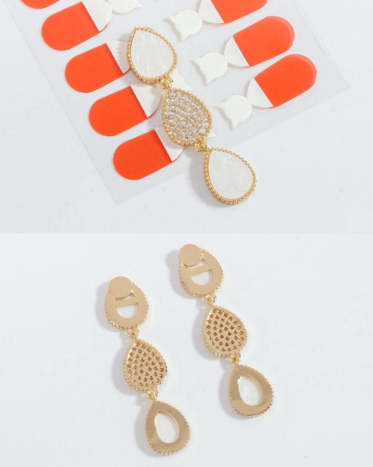 氣質微鑲水滴串 無耳洞黏貼式耳環  細節展示