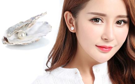 單顆白珍珠黏貼式耳環