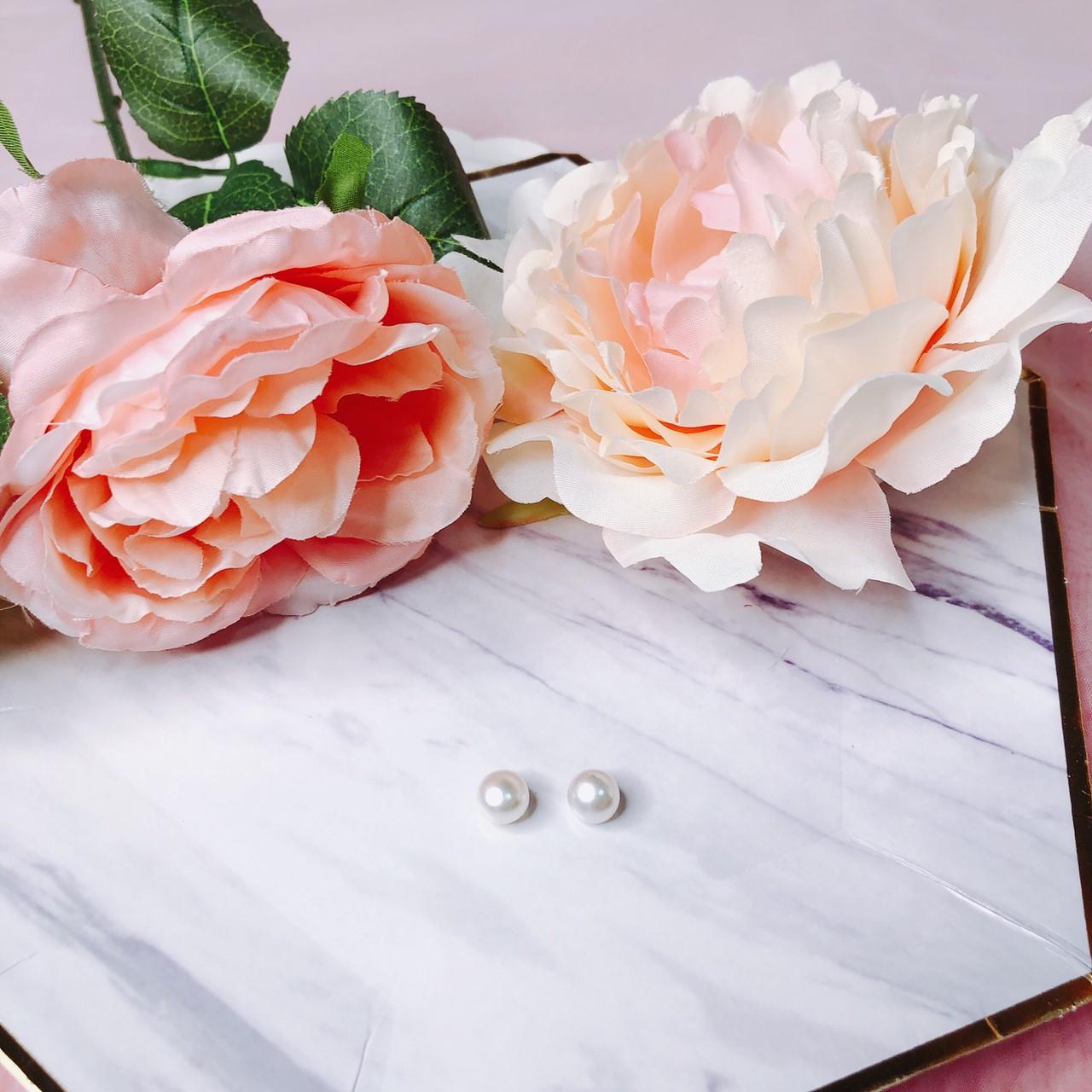 氣質簡約單珍珠黏式耳環