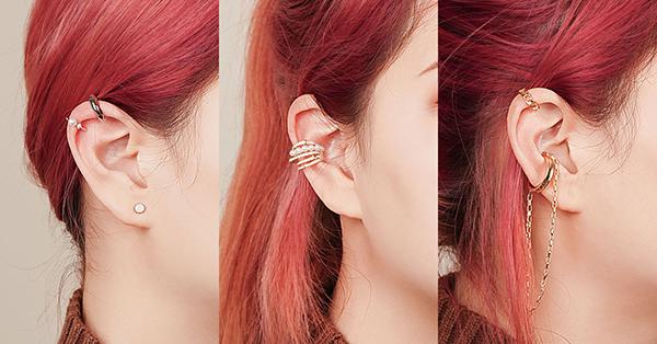 耳骨夾依照配戴的位階分成多種款式,其實配戴上可以依照個人喜好調整位置