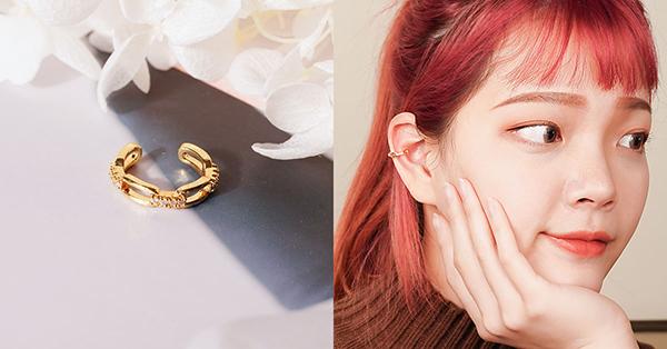 簡約淡雅的簍空鑲鑽耳骨夾款式是辦公室少女的最佳選擇