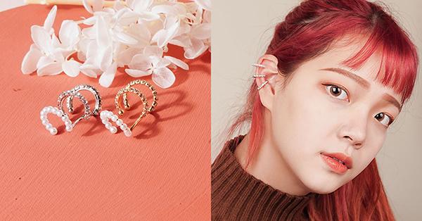 水鑽珍珠三層夾適合成為有個性女孩的耳廓裝飾