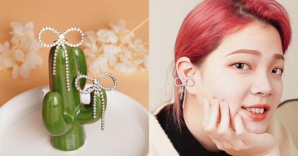 可愛的水鑽蝴蝶結耳骨夾很適合甜美風格的女孩配戴