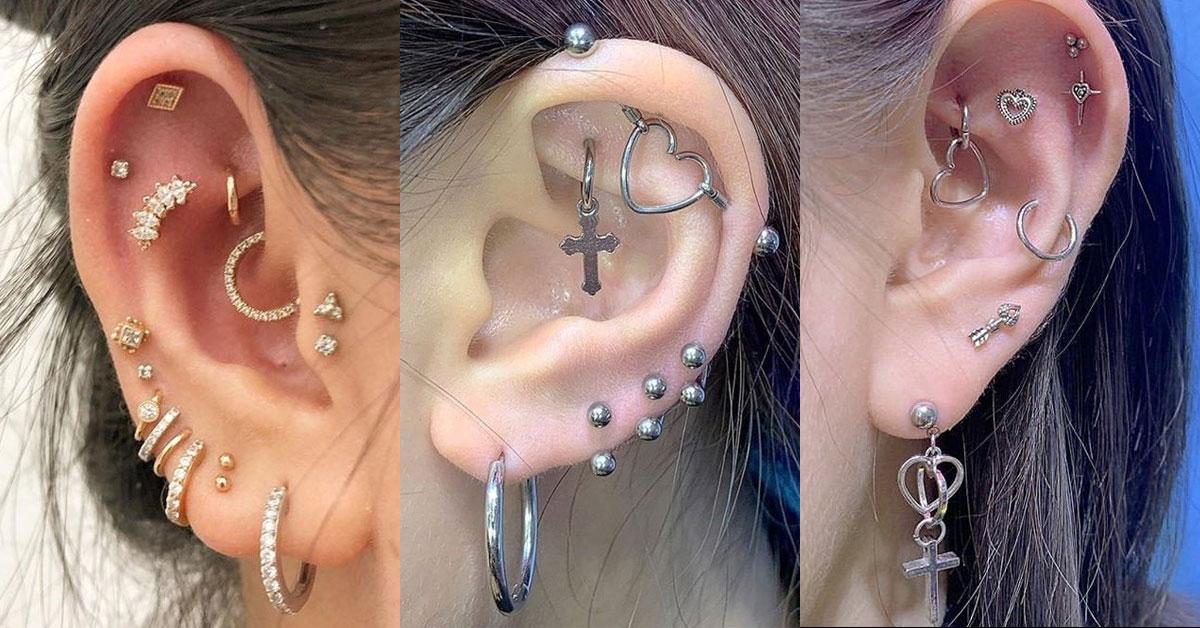 小耳窩以及外耳的位置就是穿刺愛好者的區域,一般比較少女孩穿耳洞選擇此區 域。