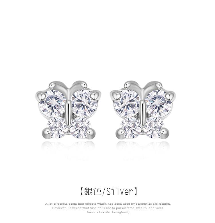 氣質水鑽蝴蝶黏式耳環,銀色