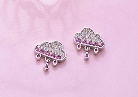 可愛雲朵雨滴水鑽黏式耳環