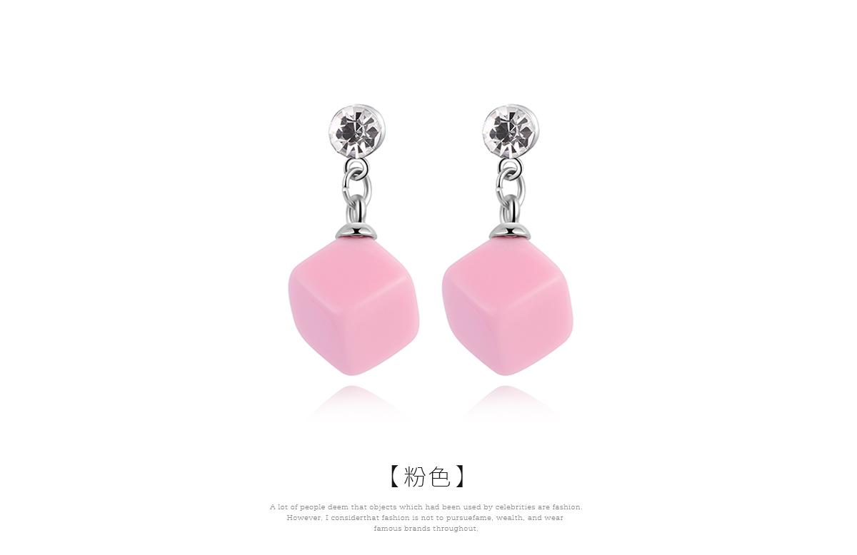 小可愛方塊黏式耳環,粉色