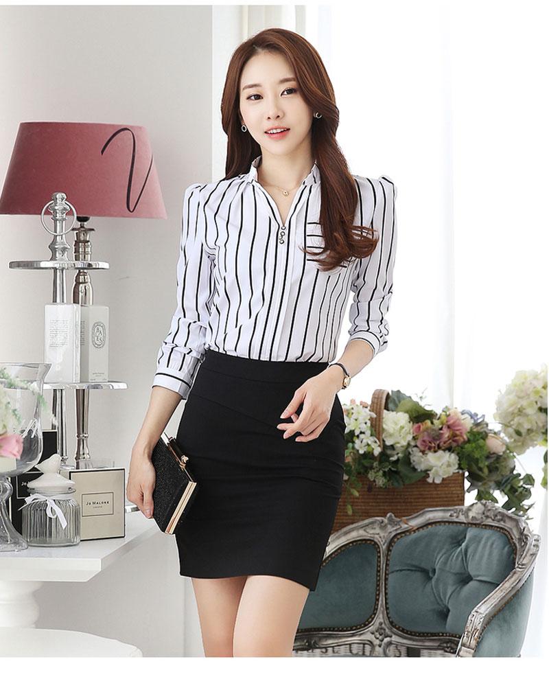 韓版V領修身條紋長袖襯衫