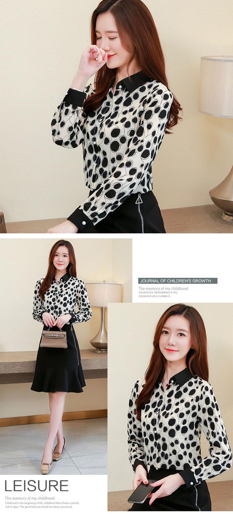 韓版時尚波點雪紡襯衫