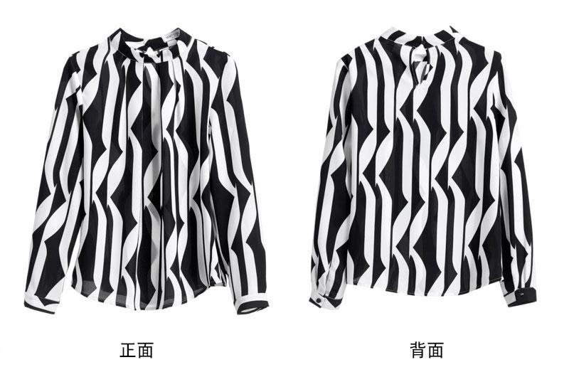 黑白撞色立領雪紡襯衫
