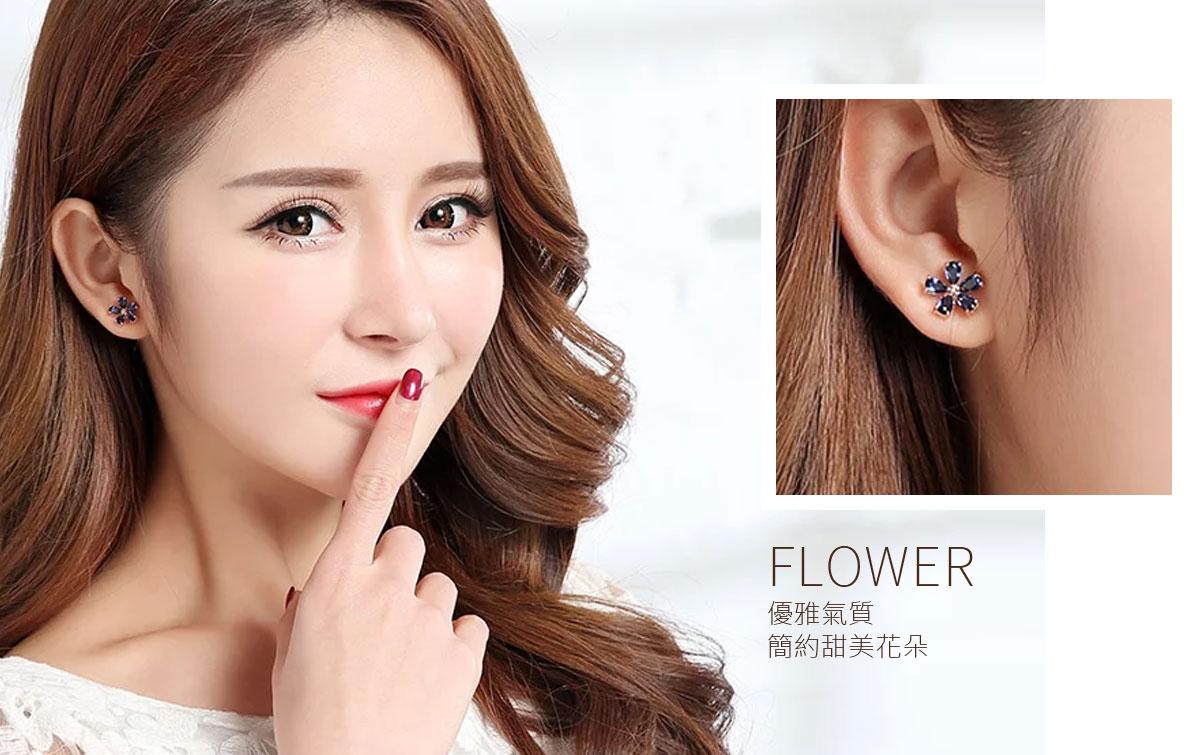 簡約風氣質甜美花朵黏式耳環