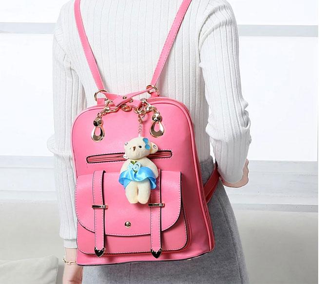 時尚簡約百搭優雅小熊吊飾後背包