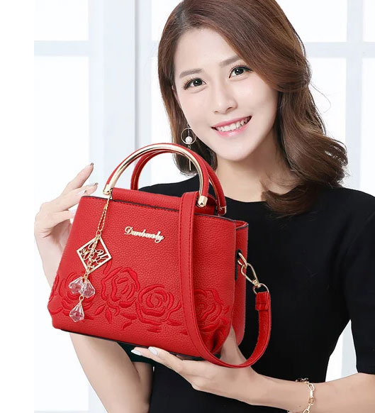 優雅尊貴玫瑰繡線側背手提包